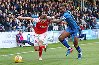 Fleetwood Town's Wes Burns competing with Gillingham's Gabriel Zakuani<br /> <br /> Photographer Andrew Kearns/CameraSport<br /> <br /> The EFL Sky Bet League One - Gillingham v Fleetwood Town - Saturday 3rd November 2018 - Priestfield Stadium - Gillingham<br /> <br /> World Copyright © 2018 CameraSport. All rights reserved. 43 Linden Ave. Countesthorpe. Leicester. England. LE8 5PG - Tel: +44 (0) 116 277 4147 - admin@camerasport.com - www.camerasport.com