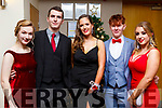 Attending the Mercy Mounthawk debs in the Ballyroe Heights Hotel on Thursday night last, l to r, Aoife King (Kilmoyley), Thomas Curran (Kilmoyley), Abby Hart (Abbeydorney), Gerald Tobin (Tralee) and Olivia Moriarty (Tralee).