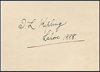 BNPS.co.uk (01202 558833)<br /> Pic: Bonhams/BNPS<br /> <br /> J L Kipling signed the album's endpaper in 1888.<br /> <br /> Plain tales from the Punjab - unseen archive of Indian photographs compiled by Rudyard Kiplings father revealed.<br /> <br /> A remarkable photo album compiled by John Lockwood Kipling documenting his time in Northern India in the late 19th century has emerged for sale for &pound;150,000.<br /> <br /> Lockwood, father of the celebrated writer Rudyard, lived in India between 1865 and 1893.<br /> <br /> An acclaimed artist in his own right, he took numerous eye-catching snaps of glorious monuments and bustling street scenes around Lahore, the Punjab and Amritsar.<br /> <br /> The photos date from around 1888, when he was working at the Mayo Art school in Lahore and as curator at the Lahore Museum.<br /> <br /> At that time his son Rudyard was a little known cub reporter for the Pioneer newspaper in Allahabad ,who was just about to publish 'Plain tales from the Hills', launching his literary career.