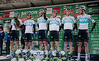 a (former) TT World Champion, a Monument winner, 2 Tour de France winners and 1 falconer on the podium at the Team SKY pre race team presentation<br /> <br /> Stage 6: Barrow-in-Furness to Whinlatter Pass   (168km)<br /> 15th Ovo Energy Tour of Britain 2018