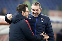 Calcio, Serie A: AS Roma - Sampdoria, Roma, stadio Olimpico, 28 gennaio 2018. <br /> AS Roma's coach Eusebio Di Francesco (l) greets Sampdoria's coach Marco Giampaolo (r) before the start of the Italian Serie A football match between AS Roma and Sampdoria at Rome's Olympic stadium, January 28, 2018.<br /> UPDATE IMAGES PRESS/Isabella Bonotto