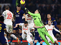 12th January 2020; Stadio Olympico, Rome, Italy; Italian Serie A Football, Roma versus Juventus; Wojciech Szczesny of Juventus punchese clear from his area from the cross