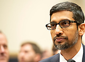 """Sundar Pichai, Chief Executive Officer of Google, testifies before the United States House Committee on the Judiciary on """"Transparency & Accountability: Examining Google and its Data Collection, Use and Filtering Practices"""" on Capitol Hill in Washington, DC on Tuesday, December 11, 2018.<br /> Credit: Ron Sachs / CNP<br /> (RESTRICTION: NO New York or New Jersey Newspapers or newspapers within a 75 mile radius of New York City)"""