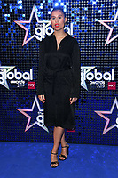 LONDON, UK. March 07, 2019: Raye arriving for the Global Awards 2019 at the Hammersmith Apollo, London.<br /> Picture: Steve Vas/Featureflash