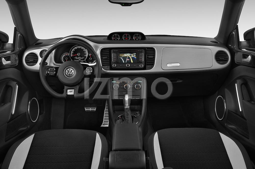 Stock photo of straight dashboard view of a 2014 Volkswagen Beetle Sport R-Line 3 Door Hatchback 2WD Dashboard