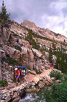 Wilderness backpacking. hikers. Idaho United States Sawtooth National Recreation Area.