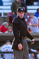 Home plate umpire Chris Presley-Murphy during a Midwest League game between the Wisconsin Timber Rattlers and the Beloit Snappers on May 17, 2018 at Fox Cities Stadium in Appleton, Wisconsin. Beloit defeated Wisconsin 8-7. (Brad Krause/Four Seam Images)