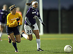 SIOUX FALLS, SD - NOVEMBER 1:  Melissa Daugherty #20 from the University of Sioux Falls battles for the ball with Stephanie Stevens #17 from Augustana in the first half of their game Friday night at the USF Sports Complex. (Photo by Dave Eggen/Inertia)