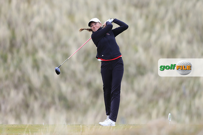 Georgia Price (ENG) on the 14th tee during the 3rd round of the ​Irish Women's Open Stroke Play Championship, Co Louth Golf Club, Baltray, Co Louth, Ireland. 13/05/2017.<br /> Picture: Golffile | Fran Caffrey<br /> <br /> <br /> All photo usage must carry mandatory copyright credit (&copy; Golffile | Fran Caffrey)