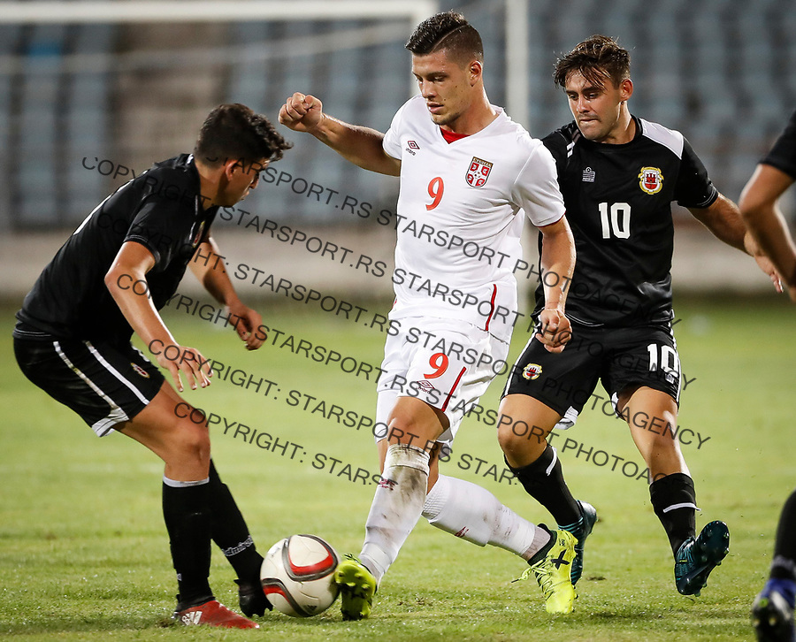 Fudbal Soccer<br /> Reprezentacija Srbije U21<br /> Kvalifikacije za U21 EURO 2019<br /> Srbija U21 v Gibraltar U21<br /> Luka Jovic (C) Andrew Hernandez (R)<br /> Jagodina, 09.01.2017.<br /> foto: Srdjan Stevanovic/Starsportphoto &copy;