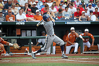Justin Castro #2 of the UC Irvine Anteaters bats during Game 1 of the 2014 Men's College World Series between the UC Irvine Anteaters and Texas Longhorns at TD Ameritrade Park on June 14, 2014 in Omaha, Nebraska. (Brace Hemmelgarn/Four Seam Images)