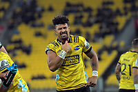 Ardie Savea gestures during the Super Rugby match between the Hurricanes and Blues at Westpac Stadium in Wellington, New Zealand on Saturday, 15 June 2019. Photo: Dave Lintott / lintottphoto.co.nz