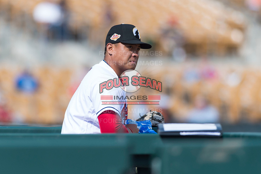 Glendale Desert Dogs catcher Li-Jen Chu (2), of the Cleveland Indians organization, in the dugout during an Arizona Fall League game against the Scottsdale Scorpions at Camelback Ranch on October 16, 2018 in Glendale, Arizona. Scottsdale defeated Glendale 6-1. (Zachary Lucy/Four Seam Images)