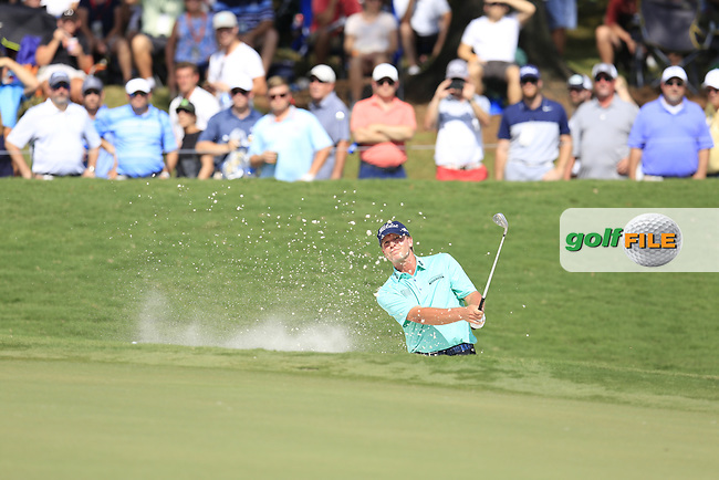 Steve Stricker (USA) chips from a bunker at the 18th green during Saturday's Round 3 of the 2017 PGA Championship held at Quail Hollow Golf Club, Charlotte, North Carolina, USA. 12th August 2017.<br /> Picture: Eoin Clarke | Golffile<br /> <br /> <br /> All photos usage must carry mandatory copyright credit (&copy; Golffile | Eoin Clarke)