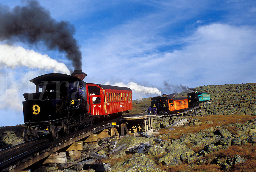 Mount Washington, NH, Breton Woods, White Mountain National Forest, New Hampshire, Mt. Washington Cog Railway trains carry passengers to the summit of Mount Washington in the White Mountain Nat'l Forest.