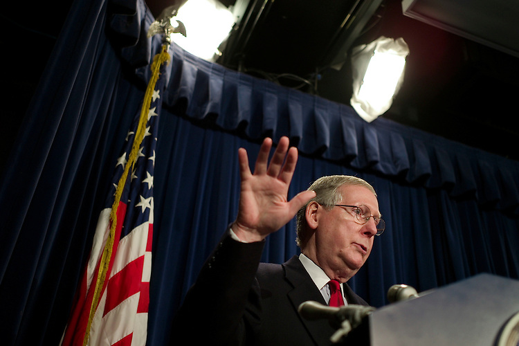 WASHINGTON, DC - Dec. 19: Senate Minority Leader Mitch McConnell, R-Ky., during a news conference on the first session of the 110th Congress, which is coming to a close. The second session will convene for the Senate on Jan. 22, 2008, and the House will reconvene Jan. 15. (Photo by Scott J. Ferrell/Congressional Quarterly).