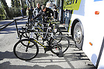 Mitchelton-Scott bikes lines up before the start of Strade Bianche 2019 running 184km from Siena to Siena, held over the white gravel roads of Tuscany, Italy. 9th March 2019.<br /> Picture: Eoin Clarke | Cyclefile<br /> <br /> <br /> All photos usage must carry mandatory copyright credit (&copy; Cyclefile | Eoin Clarke)