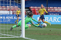 Jordan Nobbs of Arsenal is denied by Megan Walsh of Brighton during Brighton & Hove Albion Women vs Arsenal Women, Barclays FA Women's Super League Football at Broadfield Stadium on 12th January 2020