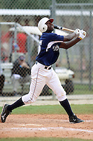 Travis Demeritte #25 of Winder Barrow High School, Georgia playing for the East Cobb Baseball during the WWBA World Champsionship 2012 at the Roger Dean Complex on October 27, 2012 in Jupiter, Florida. (Stacy Jo Grant/Four Seam Images)..