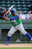 Third baseman Michael Antonio (22) of the Lexington Legends bats in a game against the Greenville Drive on Thursday, April 24, 2014, at Fluor Field at the West End in Greenville, South Carolina. Greenville won, 9-4. (Tom Priddy/Four Seam Images)