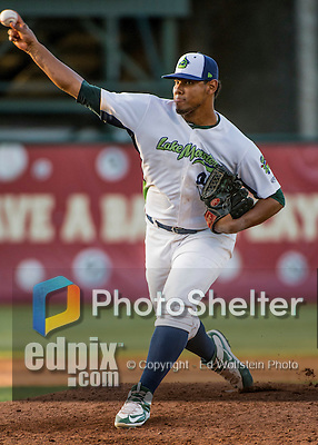 31 July 2016: Vermont Lake Monsters pitcher Yordy Alejo on the mound against the Connecticut Tigers at Centennial Field in Burlington, Vermont. The Lake Monsters edged out the Tigers 4-3 in NY Penn League action.  Mandatory Credit: Ed Wolfstein Photo *** RAW (NEF) Image File Available ***