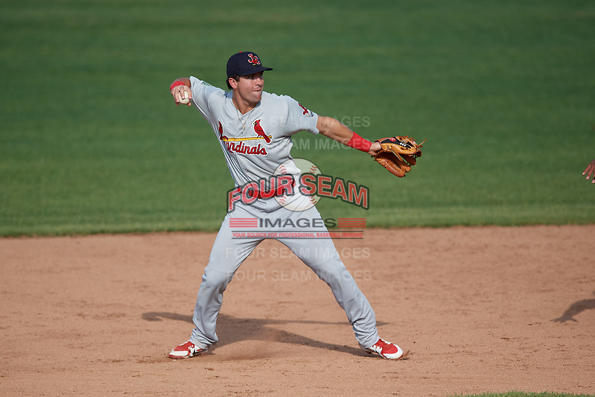 Johnson City Cardinals shortstop Michael Perri (8) throws to first base to complete a double play during the first game of a doubleheader against the Princeton Rays on August 17, 2018 at Hunnicutt Field in Princeton, Virginia.  Johnson City defeated Princeton 6-4.  (Mike Janes/Four Seam Images)