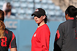 19 February 2017: OSU assistant coach Amanda Buchholz. The Ohio State University Buckeyes played the University of Louisville Cardinals at Anderson Family Softball Stadium in Chapel Hill, North Carolina as part of the ACC/Big 10 College Softball Challenge. OSU won the game 4-3.