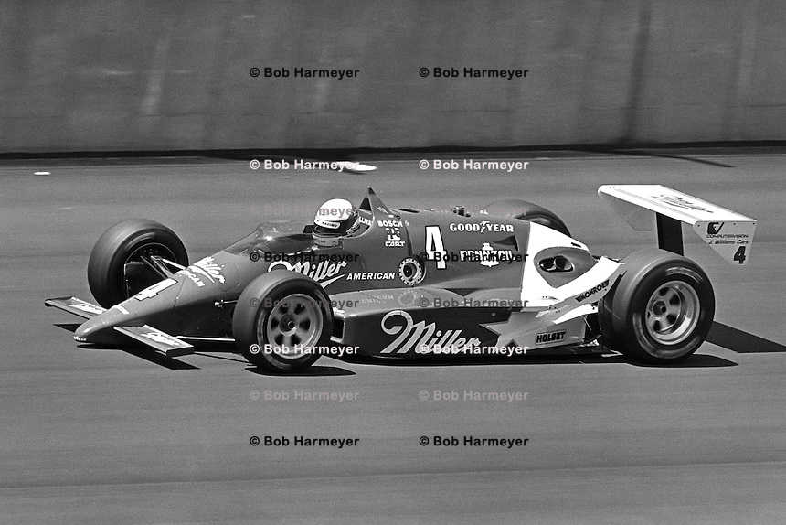 BROOKLYN, MI - AUGUST 2: Danny Sullivan drives a Roger Penske March 86C/Cosworth during the Michigan 500 CART Indy Car race at the Michigan International Speedway near Brooklyn, Michigan, on August 2, 1986.