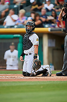 Francisco Arcia (4) of the Salt Lake Bees on defense against the Fresno Grizzlies at Smith's Ballpark on September 3, 2017 in Salt Lake City, Utah. The Bees defeated the Grizzlies 10-8. (Stephen Smith/Four Seam Images)