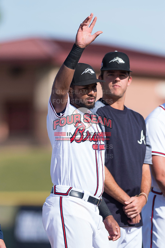 Peoria Javelinas infielder Izzy Wilson (7), of the Atlanta Braves organization, during player introductions before the Arizona Fall League Championship game against the Salt River Rafters at Scottsdale Stadium on November 17, 2018 in Scottsdale, Arizona. Peoria defeated Salt River 3-2 in 10 innings. (Zachary Lucy/Four Seam Images)