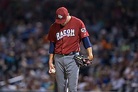 Lehigh Valley Iron Pigs relief pitcher Frank Herrmann (17) collects his thoughts against the Charlotte Knights at BB&T BallPark on June 3, 2016 in Charlotte, North Carolina.  The Iron Pigs defeated the Knights 6-4.  (Brian Westerholt/Four Seam Images)