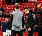Philippe Coutinho of Liverpool warm up as Jurgen Klopp manager of Liverpool looks the other way during the Champions League Group E match at the Anfield Stadium, Liverpool. Picture date 13th September 2017. Picture credit should read: Simon Bellis/Sportimage