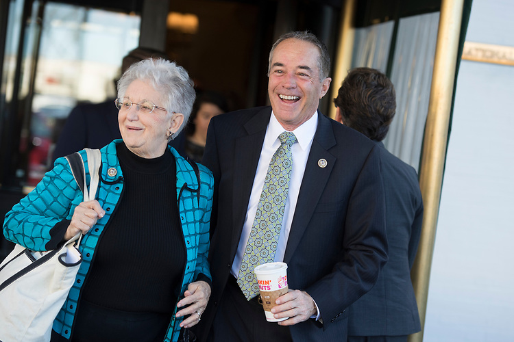 UNITED STATES - MARCH 8: Reps. Virginia Foxx, R-N.C., and Chris Collins, R-N.Y., leave a meeting of the House Republican Conference at the Capitol Hill Club, March 8, 2017. (Photo By Tom Williams/CQ Roll Call)