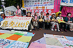 Sachiko Saito (second from left) organiser of the Fukushima Mother's protest outside METI (Ministry of Economy, Trade and Industry) in Tokyo, Japan. Friday June 29th 2012. About 400 protesters campaigned the restarting of the Oi nuclear power-station and the policy of Prime-Minister Noda to restart Japan's nuclear power generation programme which has been stalled since the earthquake and tsunami of March 11th 2011 caused meltdown and radiation leaks at the Fukushima Daichi Nuclear power-plant.