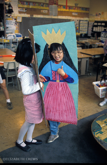 San Francisco CA 1st graders performing in their handmade, board costumes in front of class