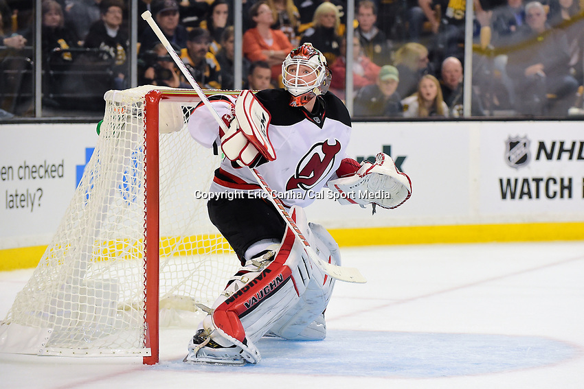 Thursday, October 20, 2016: New Jersey Devils goalie Cory Schneider (35) in game action during the Boston Bruins home opener against the New Jersey Devils held at TD Garden, in Boston, Mass. The Bruins defeat the Devils 2-1 in regulation time. Eric Canha/CSM