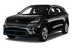 2019 KIA Niro-EV  EX-Premium 5 Door Hatchback angular front stock photos of front three quarter view