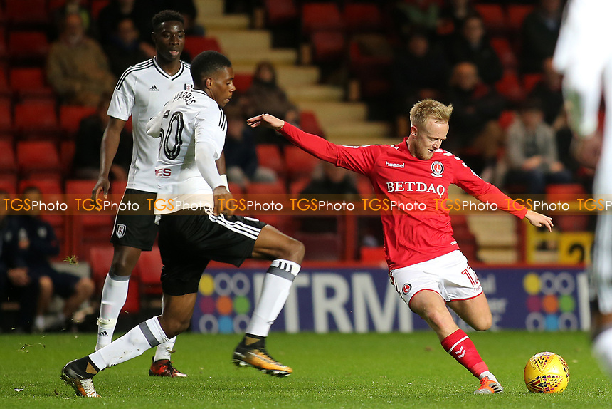 Ben Reeves of Charlton Athletic gets ready to take a shot at the Fulham goal during Charlton Athletic vs Fulham Under-21, Checkatrade Trophy Football at The Valley on 1st November 2017