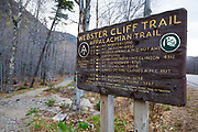 Appalachian Trail (Webster Cliff Trail) at the Route 302 crossing in Crawford Notch State Park of the New Hampshire White Mountains during the spring months.