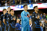 San Jose, CA - Saturday March 24, 2018: Nick Lima, Matt Bersano, Chris Wondolowski during an international friendly between the San Jose Earthquakes and Club Leon FC at Avaya Stadium.