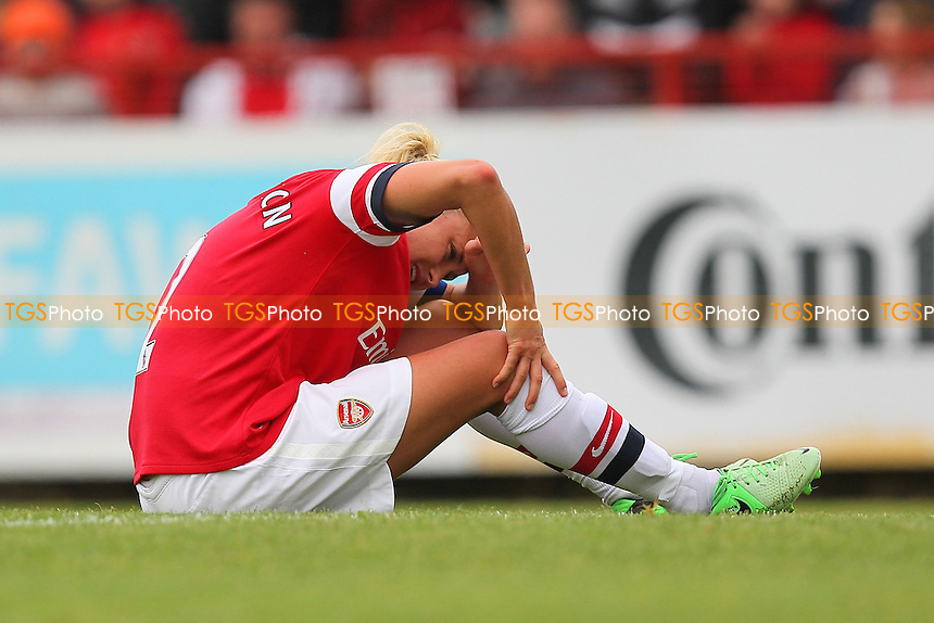 Injury concern for Steph Houghton of Arsenal - Arsenal Ladies vs Bristol Academy Women - FA Womens Super League Football at Boreham Wood FC - 08/09/13 - MANDATORY CREDIT: Gavin Ellis/TGSPHOTO - Self billing applies where appropriate - 0845 094 6026 - contact@tgsphoto.co.uk - NO UNPAID USE