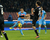 Gokhan Inler  shoot the ball during the Italian Serie A soccer match between SSC Napoli and Parma FC at San Paolo stadium in Naples