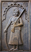 A relief in stone of a sturdy female hunter in a palace in Rajasthan. (Photo by Matt Considine - Images of Asia Collection)