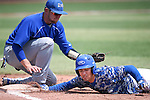 Western Nevada's David Modler dives safely back to first against College of Southern Nevada at Western Nevada College in Carson City, Nev. on Friday, May 6, 2016. <br />Photo by Cathleen Allison/Nevada Photo Source