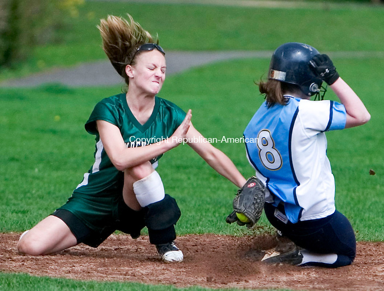 MIDDLEBURY, CT- 28 APRIL 07- 042807JT13-<br /> Westover's Tori Stratton is tagged out by Hamden Hill's Alexa DellaRocco at second during Saturday's game at Westover.<br /> Josalee Thrift Republican-American