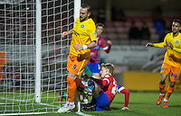 Paul Hayes of Wycombe Wanderers scores to put his team ahead during the Sky Bet League 2 match between Dagenham and Redbridge and Wycombe Wanderers at the London Borough of Barking and Dagenham Stadium, London, England on 9 February 2016. Photo by Andy Rowland.