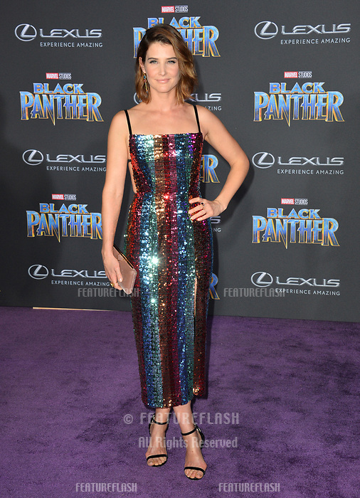 """Cobie Smulders at the world premiere for """"Black Panther"""" at the Dolby Theatre, Hollywood, USA 29 Jan. 2018<br /> Picture: Paul Smith/Featureflash/SilverHub 0208 004 5359 sales@silverhubmedia.com"""