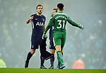 Harry Kane of Tottenham Hotspur shakes hands with Manchester City goalkeeper Ederson at the end of the premier league match at the Etihad Stadium, Manchester. Picture date 16th December 2017. Picture credit should read: Robin ParkerSportimage