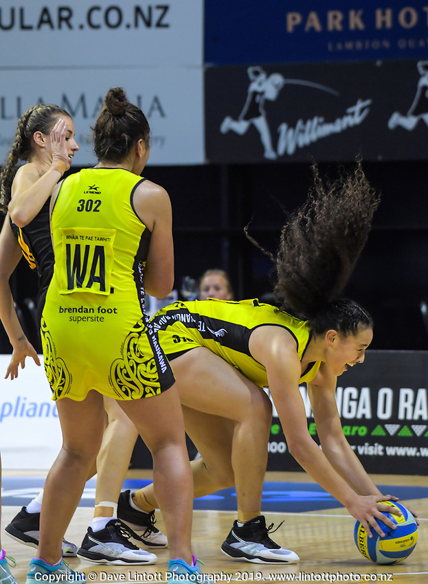 Saviour Tui holds onto a pass during the Beko Netball League match between Central Manawa and Waikato Bay Of Plenty at TSB Bank Arena in Wellington, New Zealand on Sunday, 21 April 2019. Photo: Dave Lintott / lintottphoto.co.nz