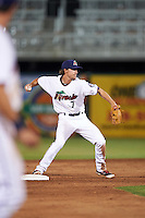 Fort Myers Miracle second baseman Ryan Walker (7) throws to first during a game against the Brevard County Manatees on April 13, 2016 at Hammond Stadium in Fort Myers, Florida.  Fort Myers defeated Brevard County 3-0.  (Mike Janes/Four Seam Images)